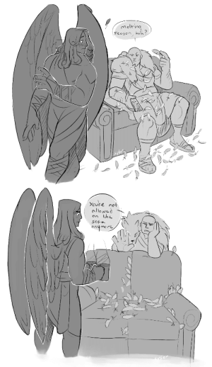 syberfab:  Doodles for @the-fluffy-underbelly​ sketch saturday weekly prompt thingy  i'm early but i was pretty hyped tbh prompt that inspired me was 'Sanguinius - molting is hell' so here's some domestic bliss/casual primarchs \o/: syberfab:  Doodles for @the-fluffy-underbelly​ sketch saturday weekly prompt thingy  i'm early but i was pretty hyped tbh prompt that inspired me was 'Sanguinius - molting is hell' so here's some domestic bliss/casual primarchs \o/