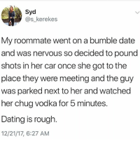 Dating, Memes, and Roommate: Syd  @s_kerekes  My roommate went on a bumble date  and was nervous so decided to pound  shots in her car once she got to the  place they were meeting and the guy  was parked next to her and watched  her chug vodka for 5 minutes.  Dating is rough  12/21/17, 6:27 AM 🤣 Tag a friend