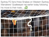 Only in Australia.. 😂😭 🔺LINK IN OUR BIO! 😎🔥: Sydney FC fans threw Snakes on Western Sydney  Wanderers' Goalkeeper net earlier today following  his move to their rivals...  69:41  SYD 0,10 WSW W Only in Australia.. 😂😭 🔺LINK IN OUR BIO! 😎🔥
