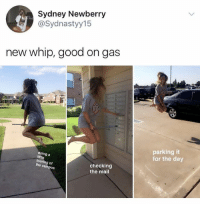Memes, Whip, and Good: Sydney Newberry  @Sydnastyy15  new whip, good on gas  parking it  for the day  doing a  little  tou  the campus  checking  the mail  of This the mermaid man and barnacle boy invisible boat mobile 2017 edition 😂 @savagememesss