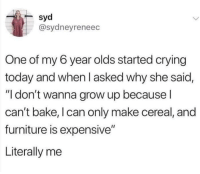 "Crying, Memes, and Furniture: @sydneyreneec  One of my 6 year olds started crying  today and when I asked why she said,  ""I don't wanna grow up because l  can't bake, I can only make cereal, and  furniture is expensive""  Literally me Literally me via /r/memes https://ift.tt/2xOv9gS"