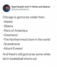 Its probably Brad: Syed Quadri and 11 Herbs and Spices v  @SyQuadrilateral  Chicago is gonna be colder than:  -Alaska  Siberia  Parts of Antarctica  Greenland  -The Northernmost town in the world  Scandinavia  Mount Everest  And there's still gonna be some white  kid in basketball shorts out Its probably Brad