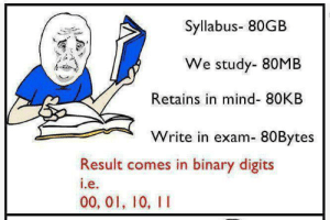 Tumblr, Http, and Mind: Syllabus- 80GB  We study- 80MB  Retains in mind- 80KB  Write in exam- 80Bytes  Result comes in binary digits  e.  00, 01, 10, II If you are a student Follow @studentlifeproblems​