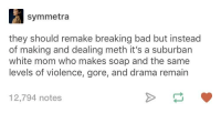 Bad, Breaking Bad, and Tumblr: symmetra  they should remake breaking bad but instead  of making and dealing meth it's a suburban  white mom who makes soap and the same  levels of violence, gore, and drama remain  12,794 notes
