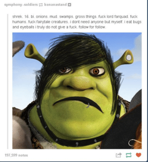 Shrek, Soldiers, and Tumblr: symphony-soldiers bananastand  shrek. 16. bi. onions. mud. swamps. gross things. fuck lord farquad. fuck  humans. fuck fairytale creatures. i dont need anyone but myself. i eat bugs  and eyeballs i truly do not give a fuck. follow for follow  197,599 notes Bishreksual