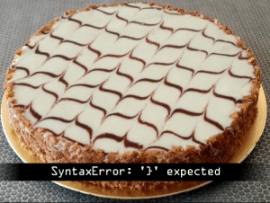 To which direction do you see the curly braces pointing?: SyntaxError: '}' expected To which direction do you see the curly braces pointing?
