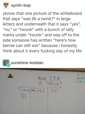 "Fucking, Life, and Lesbian: synth-bop  yknow that one picture of the whiteboard  that says ""was jfk a twink?"" in large  letters and underneath that it says ""yes"",  ""no,"" or ""twunk"" with a bunch of tally  marks under ""twunk"" and way off to the  side someone has written ""here's how  bernie can still win"" because i honestly  think about it every fucking day of my life  sunshine-lesbian  A TWINK  stile  l1 Somehow the most hilarious thing I've ever seen"
