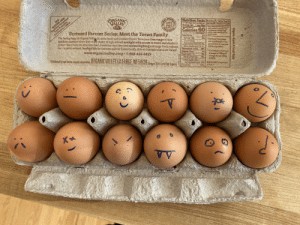 How do you mark your hard boiled eggs?: Synthetic Hormones  Toxic Pesticides  ORGANIC  VALLEY  Nutrition Facts VD0mcg 0% Calcium Zimg 2%  12 servings per container Iron Img 6%- Potassium 67mg 2%  Serving size 1 egg 5Ug) The % Daily Value (DV) tells you how  A natural  Source of  Bneya-3  &DHA  NEVER USB:  CROTHIN  Amount Per Serving  Featured Farmer Series: Meet the Toews Family  Calories 60  mush nutrient In a serving of food  centributes to a daily fiet 2.000  calories a day isused for general  Tutriion advice.  Antibiotics GMOS  Daily Values  The laying hens on Organic Vallev farmers David and Candace Toews' farm have free range of their  outdoor pasture where they enjoy plenty of high-altitude sunlight with access to water and shade to  protect them from the afternoon heat. Inside the barn they have natural lighting and range freely indoors  too-a pretty relaxed, healthy life for the hens and the Toews family alike in Colorado's San Luis Valley!  Total Fat 4g  Sat Fat 1.5g  Trans Fat 0g  Polyuasaturated Fat 0.5g  Monounsaturated Fat 2g  Cholesterol 210mg 70  Sodium 70mg  Total Carb <1g  Dietary Fiber Og  Total Sugars 0g  Incl Og Added Sugars 0%  Protein 6g  8% Synthetic fhormones  are not allowed in the  production of eggs per  USDA regulation  www.organicvalley.coop 1-888-444-6455  *Each egg contains an  average of 100mg of  omega-3s and 32mg  of DHA.  Mietibutad by om farma-ovmed cnoperativo. URGANIC VALLEY LA FARGE WI 54639  0%  Oregon Tith Certified Organic  O2019 CROPP Cooperative  18-82017  12  C.  Organic  Grade A Largo  Eggs How do you mark your hard boiled eggs?