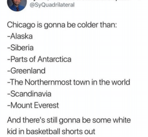 Everywhere there's always that one white kid by supremeseby MORE MEMES: @SyQuadrilateral  Chicago is gonna be colder than  Alaska  Siberia  -Parts of Antarctica  Greenland  -The Northernmost town in the world  Scandinavia  Mount Everest  And there's still gonna be some white  kid in basketball shorts out Everywhere there's always that one white kid by supremeseby MORE MEMES