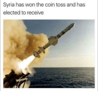 """<p>Any room for profit on this? via /r/MemeEconomy <a href=""""http://ift.tt/2ocIPhX"""">http://ift.tt/2ocIPhX</a></p>: Syria has won the coin toss and has  elected to receive <p>Any room for profit on this? via /r/MemeEconomy <a href=""""http://ift.tt/2ocIPhX"""">http://ift.tt/2ocIPhX</a></p>"""