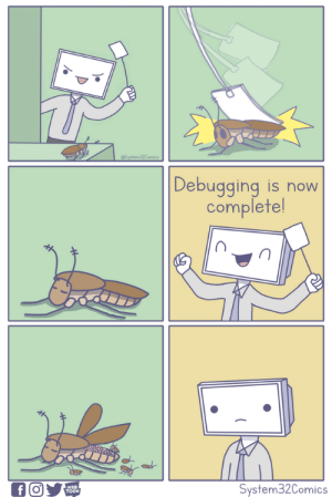 Now, Wer, and Toon: @System32Comics  |Debugging is now  complete!  f O  WER  TOON  System32Comics Debugging