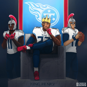 The @Titans dethrone the defending champs! 👑  #Titans #NFLPlayoffs https://t.co/uoGl0NBhxQ: Tпяy  TITANS  CHECK  DOWN  KING HENRY  THE The @Titans dethrone the defending champs! 👑  #Titans #NFLPlayoffs https://t.co/uoGl0NBhxQ