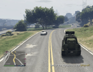 Dumb, Stuff, and Only One: t 0.44mi  Deliver the Weapons to the drop-off. Please tell me I'm not the only one that's dumb enough to freak out when you see an MK2 on the map when you're selling stuff just to realize it's just YOUR parked MK2 you just got off of...