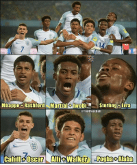 England, Memes, and Stars: t:  14  Mbappe+ Rashford Martial+IwobiSterlingsEvra  @TrollFoothall  Cahill-Oscar Alli+Walker Pogba+Alaba This England U17 team is filled with stars😉 https://t.co/SYhc8P5IX9