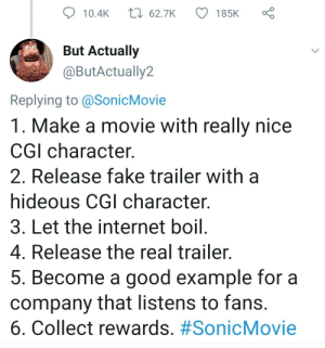 ULPT for animation studios by CEPBEP MORE MEMES: t 62.7K  185K  10.4K  But Actually  @ButActually2  Replying to @SonicMovie  1. Make a movie with really nice  CGI character  2. Release fake trailer with  hideous CGI character.  3. Let the internet boil.  4. Release the real trailer.  5. Become a good example for a  company that listens to fans.  6. Collect rewards. ULPT for animation studios by CEPBEP MORE MEMES