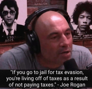 "This makes sense by johnny123bravo MORE MEMES: T 70  5015  ""If you go to jail for tax evasion,  you're living off of taxes as a result  of not paying taxes."" - Joe Rogan This makes sense by johnny123bravo MORE MEMES"