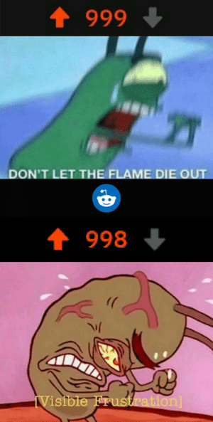 Reddit, Flame, and  Frustration: t 999  DON'T LET THE FLAME DIE OUT  998  ))  Visible Frustration] A N G E R