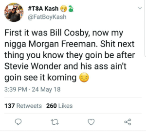 Ass, Bill Cosby, and Dank:  #T$A Kash  @FatBoyKash  First it was Bill Cosby, now my  nigga Morgan Freeman. Shit next  thing you know they goin be after  Stevie Wonder and his ass ain't  goin see it koming  3:39 PM 24 May 18  137 Retweets 260 Likes Love truly is blind, I guess by flappy_cows FOLLOW HERE 4 MORE MEMES.