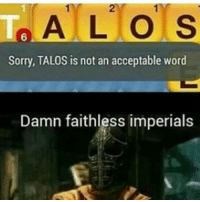 Meme, Memes, and Skyrim: T A L O S  Sorry, TALOS is not an acceptable word  Damn faithless imperials I got a lot of hate on my last meme so I hope this one's better 😐 Follow its 🆓 • • • • • • • fallout fallout2 fallout3 falloutnewvegas nv fallout4 falloutshelter skyrim morrowind oblivion skyrimremastered elderscrollsonline eso elderscrolls like4like gaming meme gamingmeme gamingnews