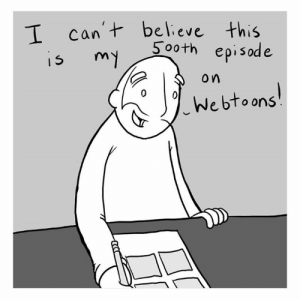 Life, Memes, and 🤖: T can t believe this  5o0th episode  15 m  o n  vebtoons 500th comic on Webtoons! Come celebrate with me! https://www.webtoons.com/en/slice-of-life/lunarbaboon/ep-500-500th/viewer?title_no=523&episode_no=501
