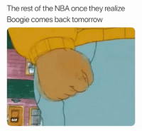 Basketball, Gif, and Nba: T he rest of the NBA once they realize  Boogie comes back tomorrow  GIF Can't use them on 2k unfair 🤦‍♂️
