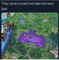 Lean, Lmao, and Dank Memes: T hey done turned loot lake into lean  lake Lmao who still play fortnite 😂