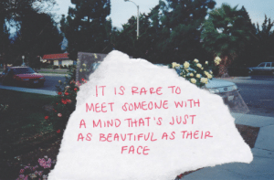 meet someone: T IS RARE TO  MEET SOMEONE W TH  A MIND THAT'S JUST  AS BEAVTIFUL AS THEIR  FACE
