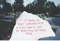 Mind, Rare, and Face: T IS RARE TO  MEET SOMEONE W)TH  A MIND THAT 'S JUST  AS BEAVTIFUL AS THEIR  FACE