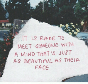 Mind, Rare, and Face: T IS RARE TO  MEET SOMEONE WiTH  A MIND THAT 'S JUST  AS BEAVTIFUL AS THEIR  FACE
