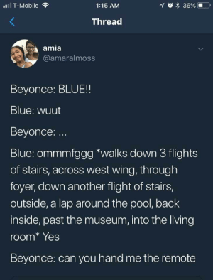 No chill.: T-Mobile  1:15 AM  Thread  amia  @amaralmoss  Beyonce: BLUE!!  Blue: wuut  Beyonce: ..  Blue: ommmfggg *walks down 3 flights  of stairs, across west wing, through  foyer, down another flight of stairs,  outside, a lap around the pool, back  inside, past the museum, into the living  room* Yes  Beyonce: can you hand me the remote No chill.