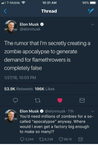 """T-Mobile, Zombies, and Mobile: T-Mobile  10:31 AM  96%  Thread  Elon Musk o  @elonmusk  The rumor that I'm secretly creating a  zombie apocalypse to generate  demand for flamethrowers iS  completely false  1/27/18, 10:03 PM  53.9K Retweets 196K Likes  Elon Musk @elonmusk 11h  You'd need millions of zombies for a so-  called """"apocalypse"""" anyway. Where  would I even get a factory big enouglh  to make so many!?  3,244 t09,238 68.1K <p>Hmmmmm</p>"""