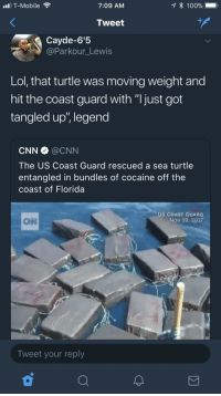 "Anaconda, Blackpeopletwitter, and cnn.com: T-Mobile  7:09 AM  * 100%  Tweet  Cayde-6'5  @Parkour_Lewis  Lol, that turtle was moving weight and  hit the coast guard with ""I just got  tangled up"", legend  CNN@CNN  The US Coast Guard rescued a sea turtle  entangled in bundles of cocaine off the  coast of Florida  US COAST GUARD  Nov 19, 2017  CAN  Tweet your reply <p>Young turtle move that dope (via /r/BlackPeopleTwitter)</p>"