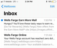 T-Mobile LTE 224 PM * 18% Mailboxes Edit Nbox Wells Fargo Earn More