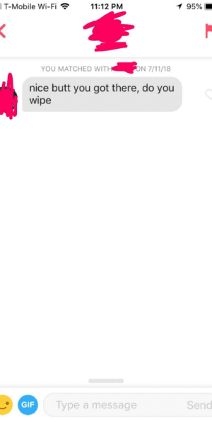 Butt, Gif, and T-Mobile: T-Mobile Wi-F11:12 PM  95%  YOU MATCHED WITHON 71ns  nice butt you got there, do you  wipe  Type a message  Send  GIF It's been 8 months, but I still think about how weird this message is