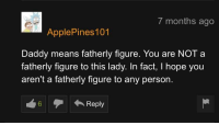 Hope, Means, and You: t months ago  ApplePines 101  Daddy means fatherly figure. You are NOT a  fatherly figure to this lady. In fact, I hope you  aren't a fatherly figure to any person.  6Reply