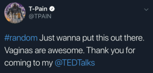 T-Pain, Thank You, and Awesome: T-Pain  @TPAIN  #random Just wanna put this out there.  Vaginas are awesome. Thank you for  coming to my @TEDTalks They hate T-Pain because he told them the truth
