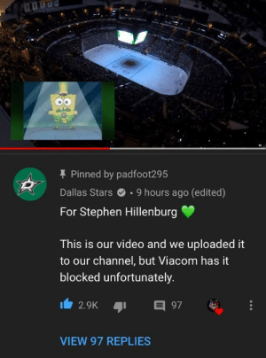 The Dallas Stars actually preformed sweet victory as a tribute to Stephen Hillenburg by bodietron2000 MORE MEMES: T Pinned by padfoot295  Dallas Stars.9 hours ago (edited)  For Stephen Hillenburg  This is our video and we uploaded it  to our channel, but Viacom has it  blocked unfortunately  2.9K 97  VIEW 97 REPLIES The Dallas Stars actually preformed sweet victory as a tribute to Stephen Hillenburg by bodietron2000 MORE MEMES