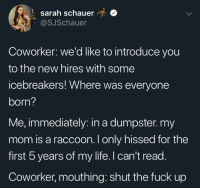 Life, Fuck, and Raccoon: t sarah schauer  @SJSchauer  Coworker: we'd like to introduce you  to the new hires with some  icebreakers! Where was everyone  born?  Me, immediately: in a dumpster.my  mom is a raccoon. I only hissed for the  first 5 years of my life. I can't read.  Coworker, mouthing: shut the fuck up Dump of some things that made me laugh