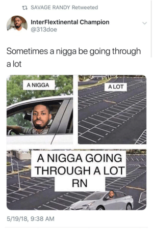 Sometimes the struggle is literal by Strictlybutters FOLLOW HERE 4 MORE MEMES.: t SAVAGE RANDY Retweeted  InterFlextinental Champion  @313doe  Sometimes a nigga be going through  a lot  A NIGGA  A LOT  A NIGGA GOING  THROUGH A LOT  RN  5/19/18, 9:38 AM Sometimes the struggle is literal by Strictlybutters FOLLOW HERE 4 MORE MEMES.