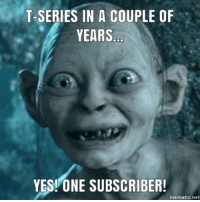 Yesie: T-SERIES IN A COUPLE OF  YEARS  YESI ONE SUBSCRIBER!  mematic.net