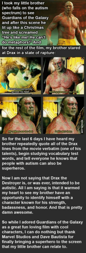 "9gag, Christmas, and Head: T took my little brother  (who falls on the autism  spectrum) to see  Guardians of the Galaxy  and after this scene he  lit up like a Christmas  tree and screamed  ""He's like me! He can't  do metaphors!P And  for the rest of the film, my brother stared  at Drax in a state of rapture:  Metaphors are gonna  go over his head  Nothing goes over my head  My reflexes are toofast  Owill catch them  So for the last 6 days I have heard my  brother repeatedly quote all of the Drax  lines from the movie verbatim (one of his  talents), begin studying vocalbulary test  words, and tell everyone he knows that  people with autism can also be  superheros.  Now I am not saying that Drax the  Destroyer is, or was ever, intended to be  autistic. All I am saying is that it warmed  my heart to see my brother have an  opportunity to identify himself with a  character known for his strength,  badassness, and honor. And that is pretty  damn awesome.  So while I adored Guardians of the Galaxy  as a great fun loving film with cool  characters, I can do nothing but thank  Marvel Studios and Dave Bautista for  finally bringing a superhero to the screen  that my little brother can relate to.  VIA 9GAG.COM Try not to cry. Cry a lot"