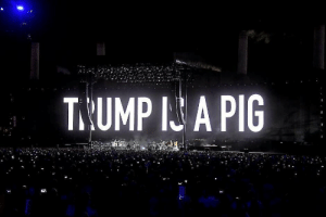 obama-biden-memes: Roger Waters of Pink Floyd began his American tour with this: T.UMP I A PIG obama-biden-memes: Roger Waters of Pink Floyd began his American tour with this