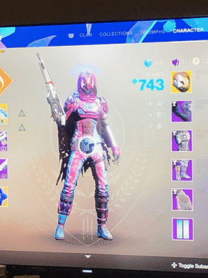 Destiny, Power, and Clan: T UMPHS CHARACTER  CLAN COLLECTIONS  22  31  9552  POWER  743  44  4  6  10  Toggle Subsc Destiny 2 says trans rights! (Credit to my friend Liz)