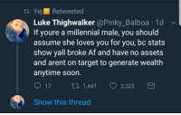 Af, Blackpeopletwitter, and Soon...: t. Yejl Retweeted  Luke Thighwalker @Pinky_Balboa .1d  If youre a millennial male, you should  assume she loves you for you, bc stats  show yall broke Af and have no assets  and arent on target to generate wealth  anytime soon.  17 , 1,441 2,322  Show this thread <p>😂🤣😭 (via /r/BlackPeopleTwitter)</p>