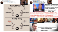 """HYPOCRISY WILL KILL US ALL. Do not tread on these snakes. The story of flipping the never-trump narrative and lie. The SHEER HYPOCRISY. #SnakesOnAPayroll: t1 Ben Shapiro Retweeted  tl Ben Shapiro Retweeted  Glenn Beck @glennbeck 3h  Funny in cartoon form. Sad in reality.  Glenn Beck @glennbeck 3h  Funny in cartoon form. Sad in reality.  Reality 50 Years Ago  six  We need a Constitutional  restraint on the executive  branch, and Donald Trump,  l really truly believe, is a  nine  very dangerous man.""""  YOURVOICE YOURVOTE 2016  Will GOP Rally Around Cruz After String of Victories? NE  Glenn Beck  Democrat  Republican  """"truly believe"""" what someone says when BEING PAID to PROFITEER in politics  TRUMP IS HITLER"""", """"TRUMP IS RACIST"""", """"'TRUMP IS MAO""""  TRUMP IS 'EXTINCTION EVENT FOR AMERICA  1 PAID TO DIVIDE 2 4PUTS ON THE MASK  CALLS TRUMP HITLER  SUDDENLY LOSING COMPANY  Reality Today  aze  IR  RACIST  SIX  six  EXCLUSIVE  ORELIABLESOURCES  CONSERVATIVE MEDIA FRACTURES OVER TRUMP  WHATS T  THE FUTURE OF  GLENN BECK'S COMPANY?  Democrat  Republican  TRUMP SUPPORTERS ARE SO CONFIDENT IN  Donald Trumv uber alles  BEN SHAPIRO  RYY4F HYPOCRISY WILL KILL US ALL. Do not tread on these snakes. The story of flipping the never-trump narrative and lie. The SHEER HYPOCRISY. #SnakesOnAPayroll"""
