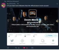Dwayne Johnson, Twitter, and Movie: t1 GMDNoice Retweeted  @Stickfab 4h  rt if you have more followers than the official doom movie account  Doom Movi  Official Twitter of DoomMovie starring Dwayne Johnson, Karl Urban,  and Rosamund Pike  TWEETS  FOLLOWING  LISTED  Zr Follow ) ( …  20  @目0  TWEETS  MENTIONS  LIST  COLLECTION  LIKES  t 25 18