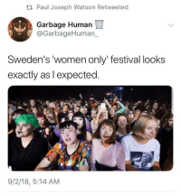 Memes, Women, and Festival: t1 Paul Joseph Watson Retweeted  Garbage Human  Sweden's women only' festival looks  exactly as l expected.  9/2/18, 5:14 AM