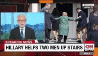 cnn.com: t16 PM ET  BREAKING NEWS  HILLARY HELPS TWO MEN UP STAIRS  CNN  WO