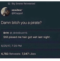 Bitch, Bruh, and Memes: t2 Big Smoke Retweeted  @Klappd  Damn bitch you a pirate?  Britt BrittBratt15  Still pissed me hair got wet last night  6/25/17, 7:20 PM  4,783 Retweets 7,347 Likes Bruh im laughing so hard😂😭 Turn on post notifications🆕