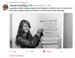 npm install: t7 Russell Cohen Retweeted  Thomas Fuchs B14  Legendary Apollo project programmer Margaret Hamilton, next to a printout of  the node_modules directory listing for her first Hello World react app  @thomasfuchs · Mar 7  HTDA  GRIA  TIA  CRIA  CPIA  CRIA  TYIA  CRIA  LEA  15.6K  27 4.9K  118  Show this thread npm install